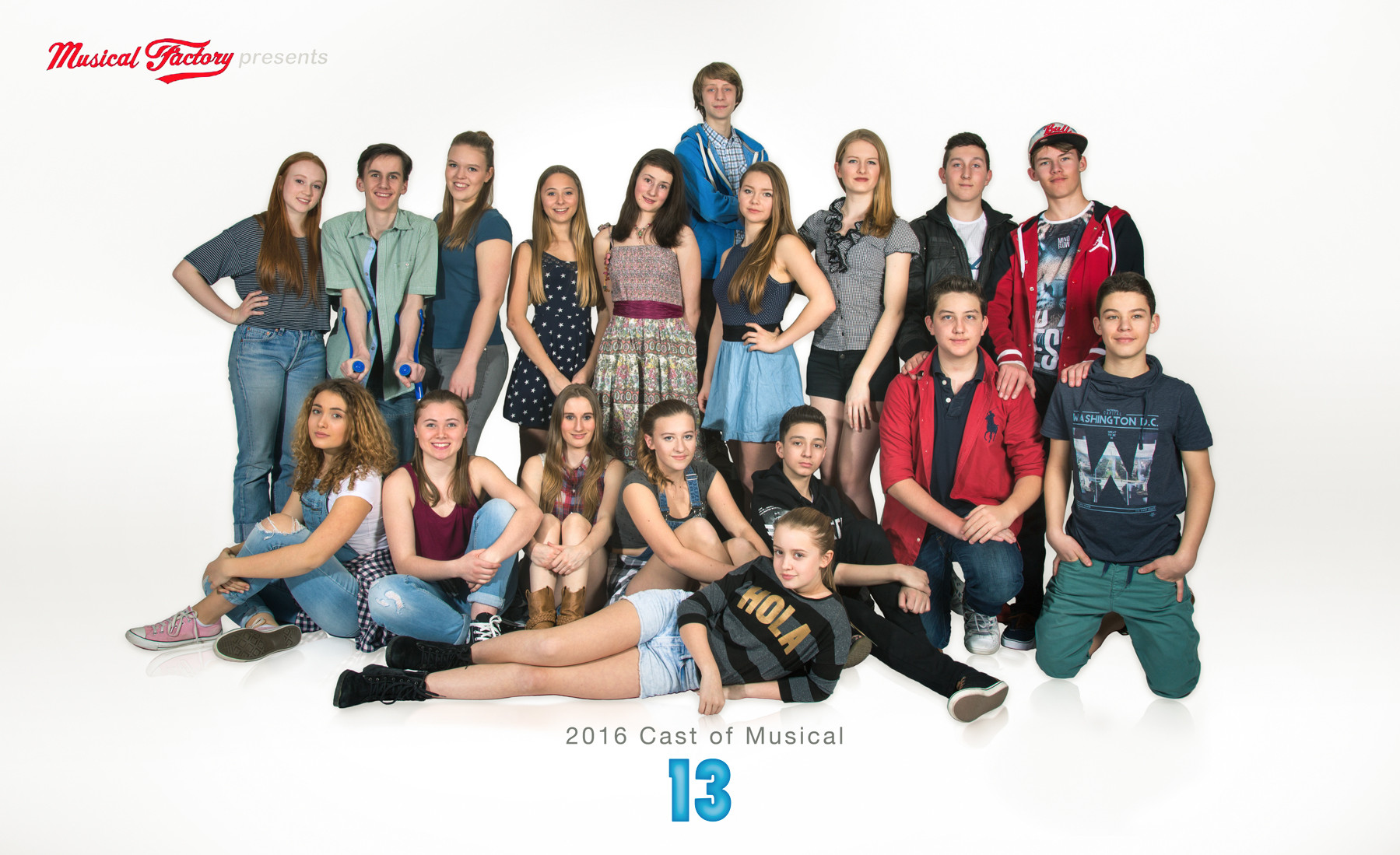 2016 Cast Photo of the Cast of the Musical 13 presented by Musical Factory Lucerne, Switzerland