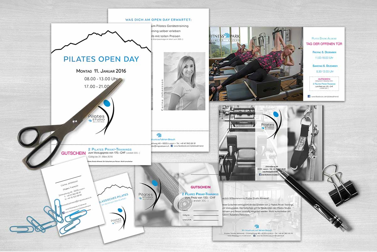 Printed materials for Pilates Studio Allmend Luzern