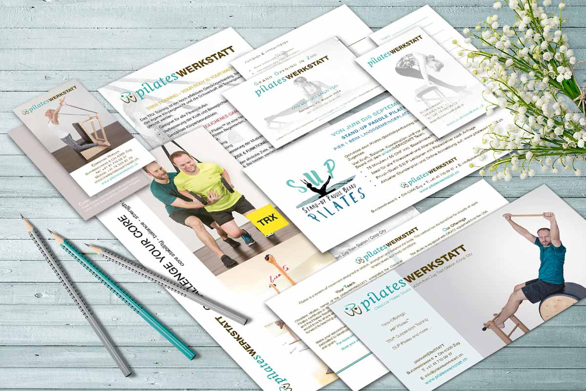 Collage of Business Assets for Pilateswerkstatt Zug